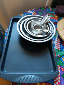 Cookie sheet ,mixing bowls, measuring cups, teaspoons