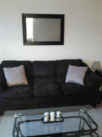 Brown, plush couch and beige firm loveseat
