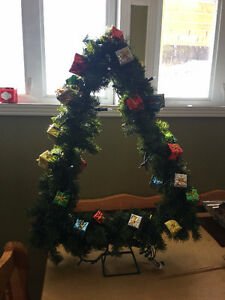 Christmas Tree shaped Wreath with lights