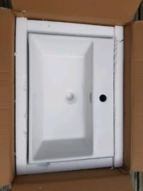 NEW IN BOX MODERN RECTANGULAR CERAMIC WALL HUNG COUNTER TOP BASIN