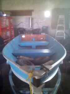 12 ft Aluminum Boat, Trailer, 9.9 hp evinrude and 6 hp johnson