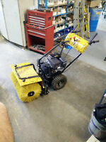 Gas Powered Snow Plow and Sweeper + Dust Bin Attachment