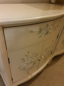 Country Cottage ,Cream painted flowered chezt / cupboard