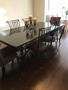 Custom Rod Iron & Granite Dining Table  with Chairs