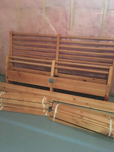 Natural wood IKEA bed frame - queen size