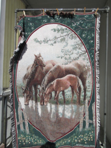 Horses throw blanket, afghan, tapestry.