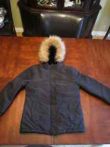 Black Winter Jacket with Faux fur detailing on hood