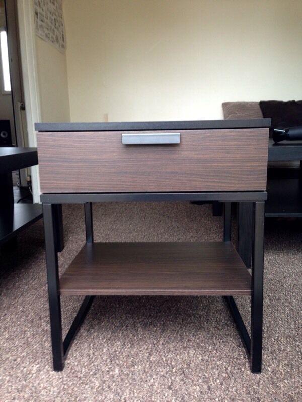 Ikea Trysil Bedside Table Dark Brown Black 45x40 Cm