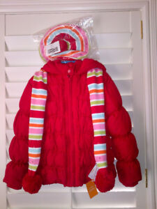 NEW Red Puffer Winter Coat by Gymbo with matching Hat & Scarf