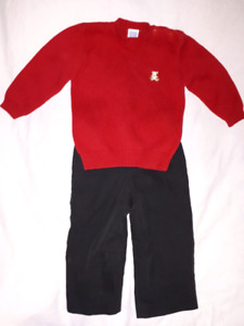 Boys Holiday Wear Size 2T,Red Cotton Sweater & Black Dress Pants
