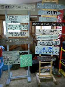 Custom made signs shelves shutters  $10 to $20