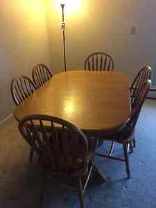 Dining table (Solid oak 6 chairs and extension)