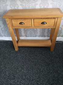 Oak Console Table Solid Wood Side Hall Telephone Table 2 Storage Drawe