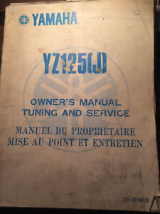 Yamaha YZ125J Owners Manual Tuning and Service
