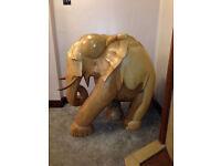 LARGE OAK CARVED ELEPHANT SCULPTURE