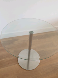 Free Delivery Round Glass Dining Table and 4 black padded dining Chair