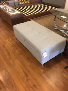 Modern Grey fabric storage ottoman bench, Canadian Made