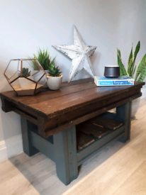 Rustic wooden coffee table in grey