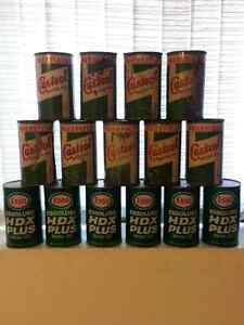 15 MOTOR OIL CANS, ESSO, WAKEFIELD CASTROL.