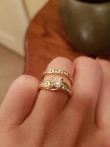 1 CT Swoop Yellow Gold Engagement Ring & Wedding Band