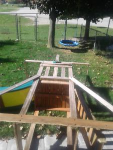 Wooden swing slide playset