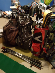Golf clubs and bags all clubs left handed stiff shafts