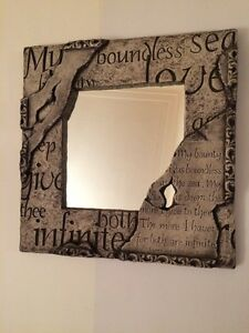 FOR SALE: decorative stone mirror with quote
