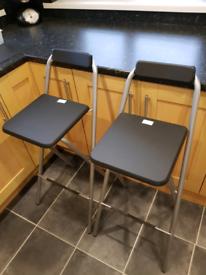 Pair of Folding Metal Kitchen Stools Black & Silver