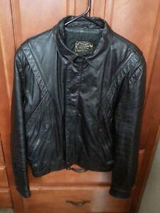 Veste de moto/Noire/En cuir 100%
