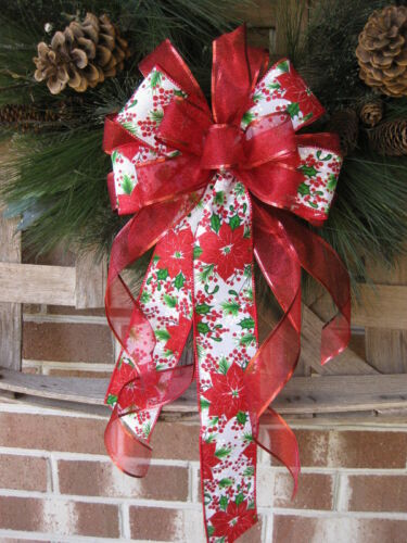 CHRISTMAS RED POINSETTIA WIRED BOW WREATH SWAG GARLAND MAIL  FENCE POST # 58