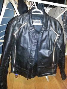 Women's large leather motorcycle jacket