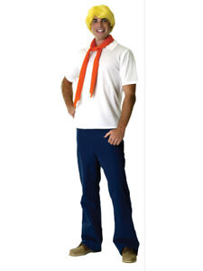 Adult STD Licensed Scooby Doo Fred Fancy Dress Costume Mens Gents Male BN