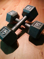 Pair or 15 lbs cast iron hex dumbbells