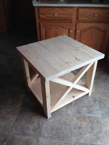 "Solid Pine Rustic ""X"" End Table / Side Table"