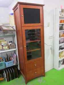 Tall wooden stereo cabinet or pantry at RE in New Minas