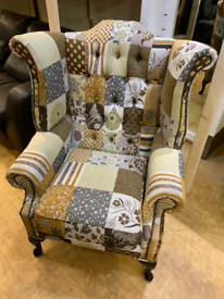 FREE DELIVERY Chesterfield Queen Anne patchwork fabric armchair