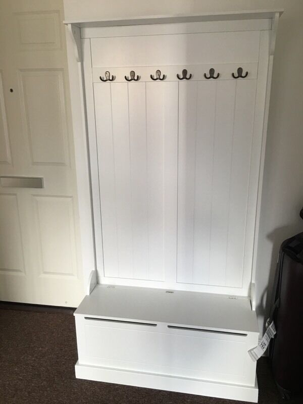 Marvelous Hallway Bench And Coat Hook Shoe Storage In White Brittany