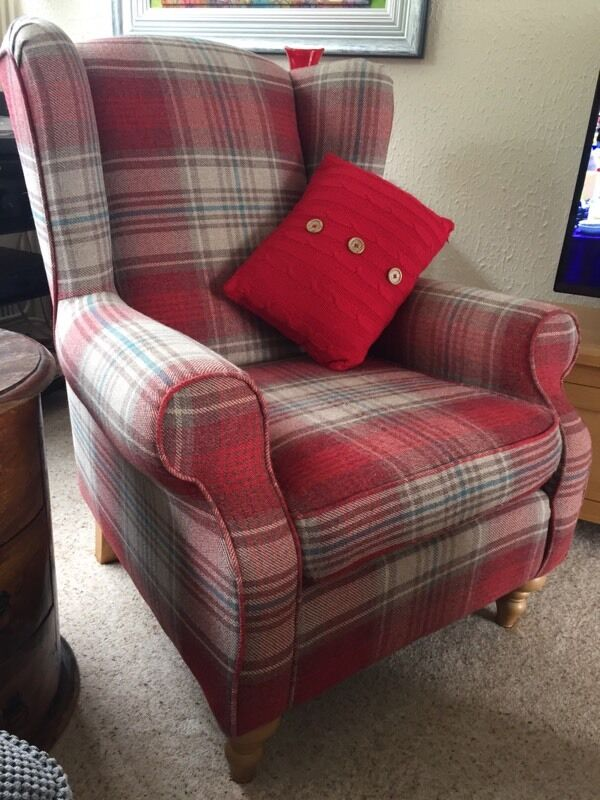Next Wingback Sherlock Red Check Chair