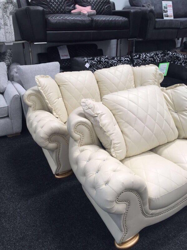 Pendragon Leather Sofa Sets U0026 Versace Black Leather Or Cream Diamonds And  Studs!