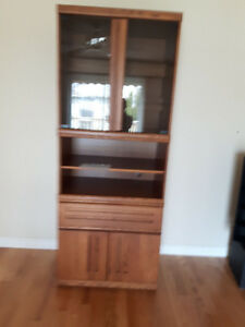 Gorgeous Oak and Glass Shelving Unit & Glass Door | Buy or Sell Bookcases u0026 Shelves in Kitchener / Waterloo ...