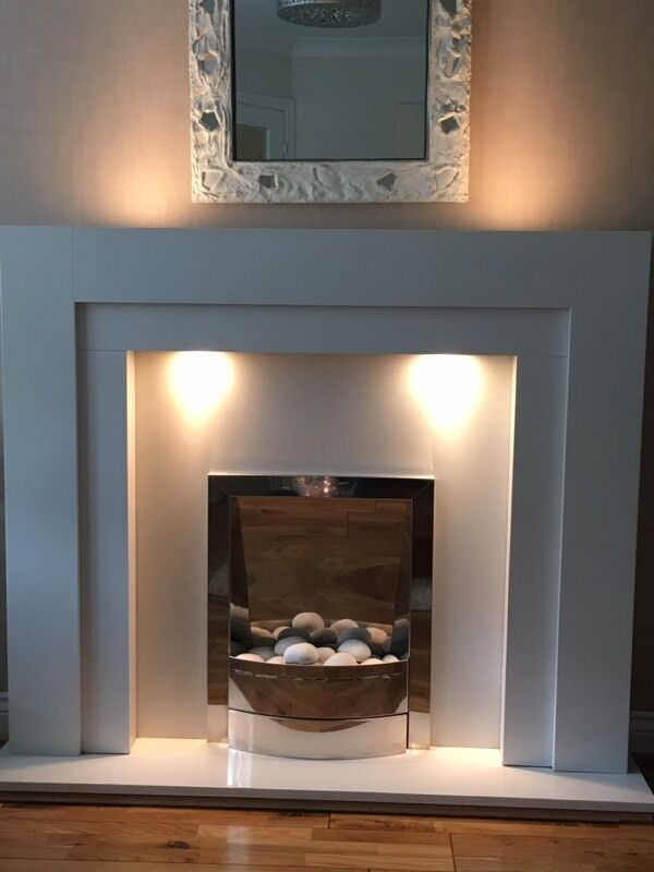 Wonderful White Fire Surround Part - 10: White Fire Surround With Marble Back And Hearth