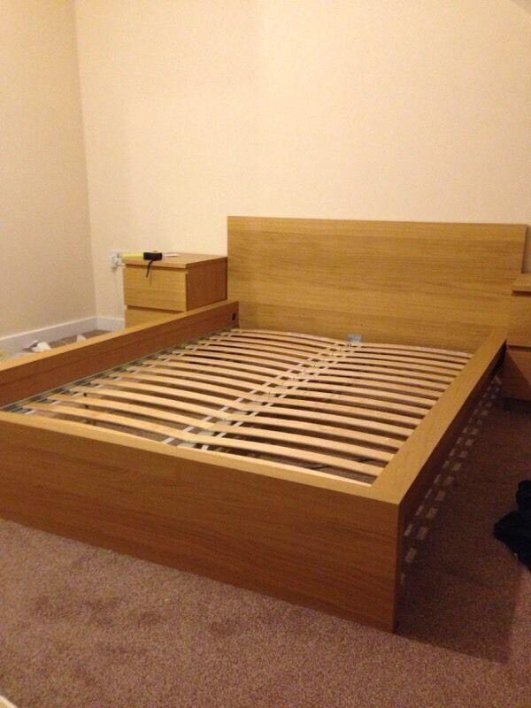 IKEA Malm Low Double Bed Frame In Oak Veneer.