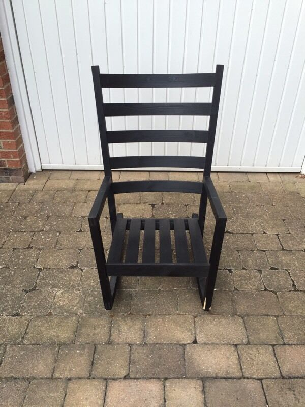 Ikea Varmdo Indoor Outdoor Rocking Chair Black Stained Wood Vgc