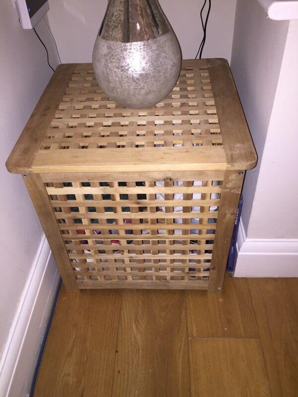 IKEA Pine Lattice Storage Cube Coffee Table/ Lamp Stand