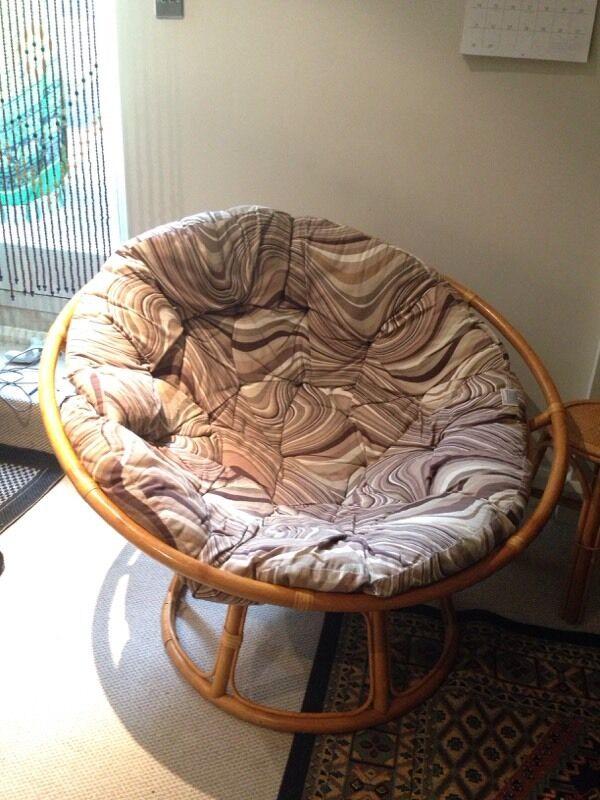 Vintage Papasan Chair Bamboo Wicker Retro / Moon Chair / Bowl Chair /  Armchair Nice Design