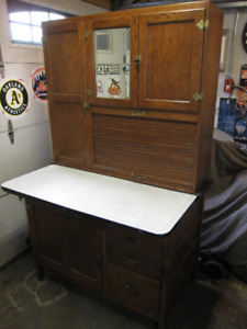 VINTAGE OAK HOOSIER KITCHEN AID CABINET