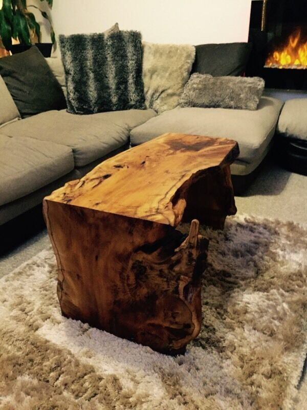 natural hand made rustic bespoke solid wood coffee table