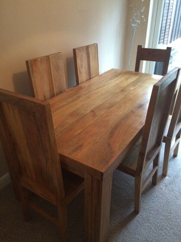 Superbe Chunky Mango Wood Dining Table U0026 Chairs