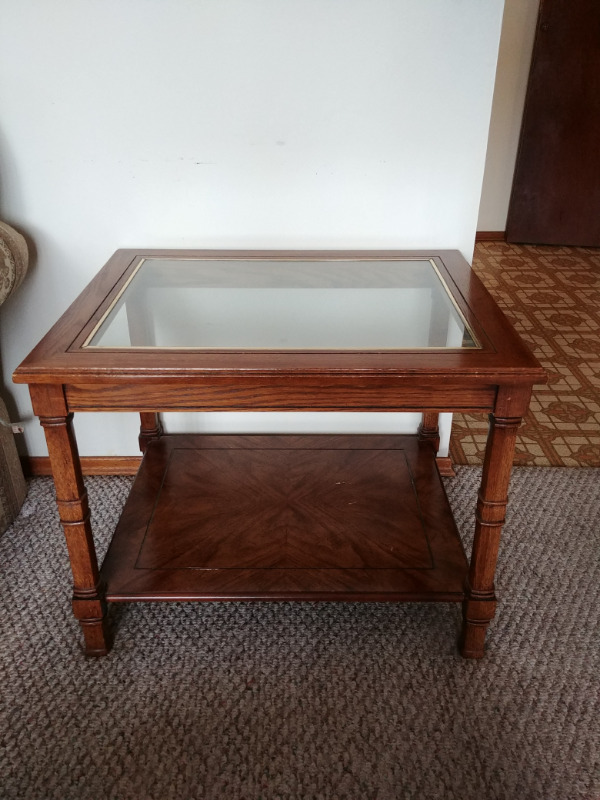 Description. Good Condition! Only Minor Wear. 1 Wood Glass Coffee Table ...