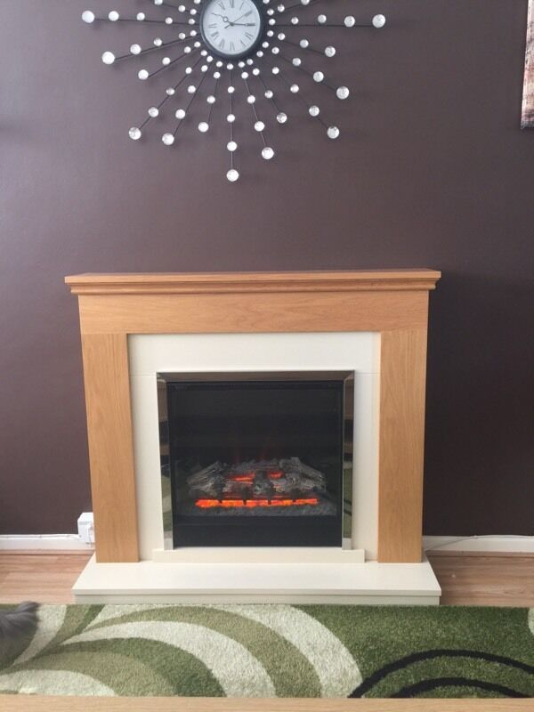 Electric Fire And Surround Part - 24: Durham Electric Fire Suite ( Log Fire Surround Oak )